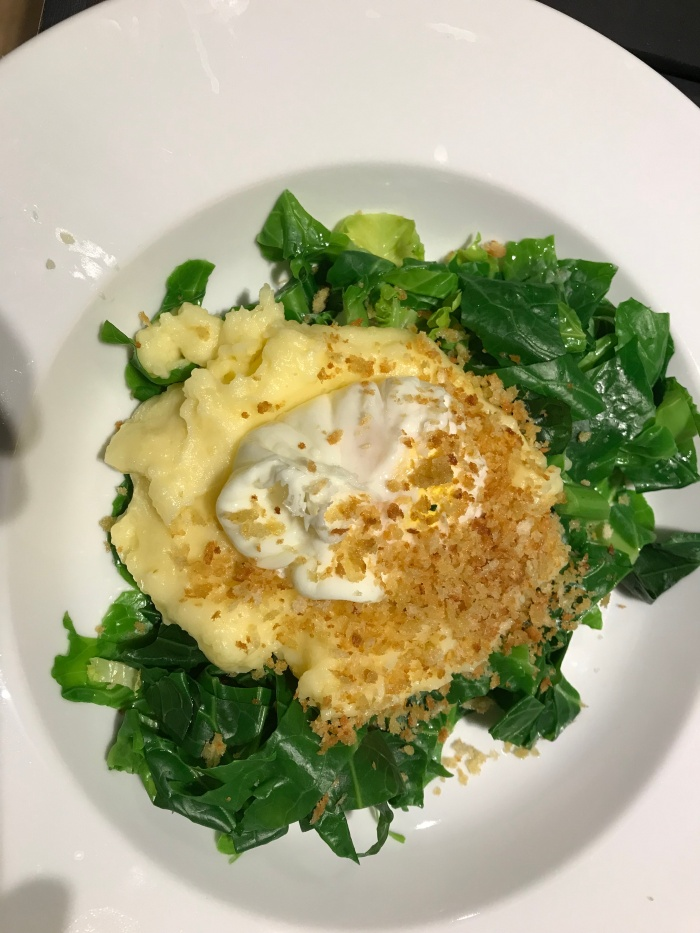 mashed potato, egg and greens